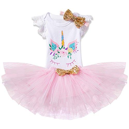 NNJXD Girl Flowers Unicorn Tutu 1st ONE Birthday 3 Pcs Outfits Romper+Skirt+ Gold Headband Size (1) 1 Year Pink ()