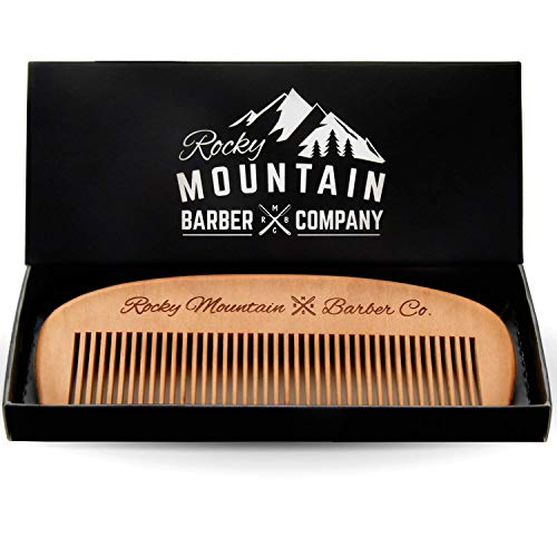 Hair Comb – Wood with Anti-Static & No Snag Handmade Brush for Beard, Head Hair, Mustache with Design in Gift Box by Rocky Mountain
