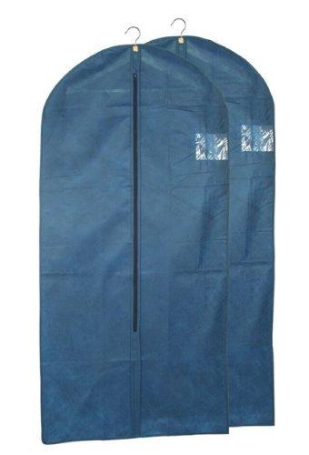 Kleiderschutzhüllen Kleidersäcke 2er Set mit Sichtfenster blau 62x135cm 41097