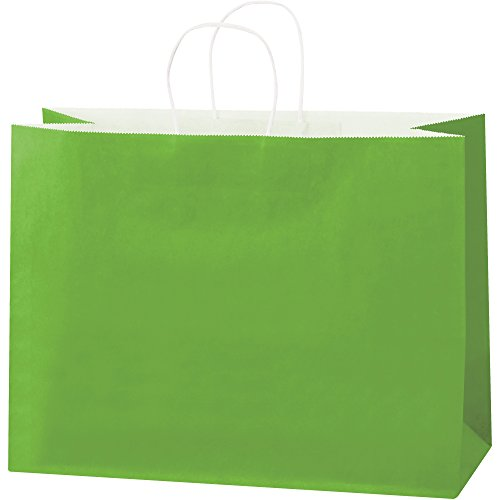 Tinted Paper Shopping Bags, 16'' x 6'' x 12'', Citrus Green, 250/Case by Choice Shipping Supplies (Image #1)