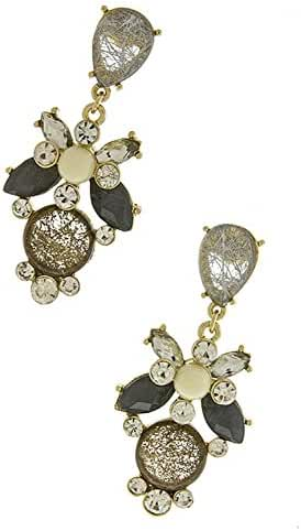 TRENDY FASHION JEWELRY TORTOISE FLORAL STONE EARRINGS BY FASHION DESTINATION