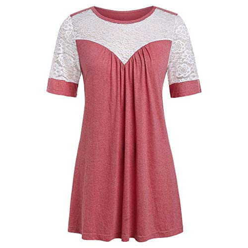 Witspace Plus Size Summer New Solid Color Fashion Lace V-Neck Ladies T-Shirts ()
