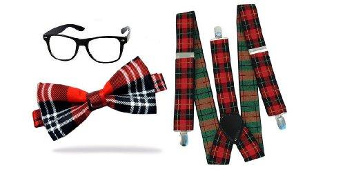 Indisguise Women's Nerd Geek Tartan Fancy Glasse Tie And Brace Dweeb School One Size Red - Glasse Nerd