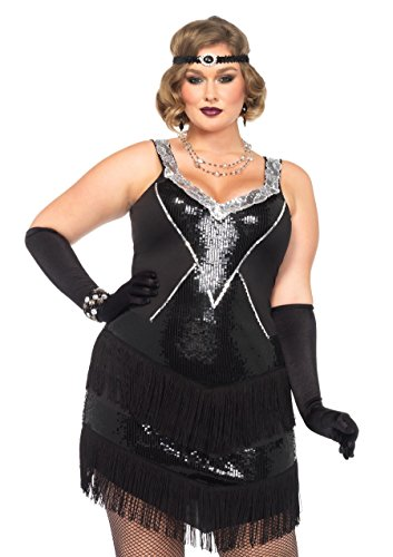 (Leg Avenue Women's Plus-Size 2 Piece Glamour Flapper Costume, Black/Silver,)