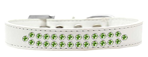 Mirage Pet Products Two Row Lime Green Crystal White Dog Collar, Size 18 by Mirage Pet Products
