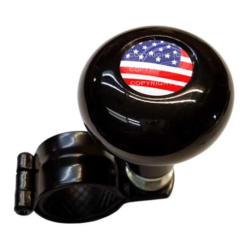 TrickToppers Gloss Black Aluminum Steering Wheel Spinner Suicide Brody Knob For Hot Rod Customs Car Truck SUV Tractor Trailer Big Rig Boat & More - USA American Flag Old Glory