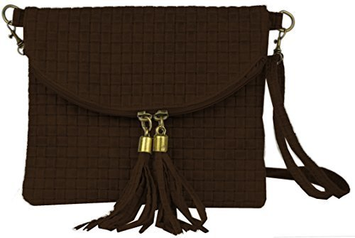 Bags4Less Damen Dubai Clutch, 4x19x22 cm Flecht Braun