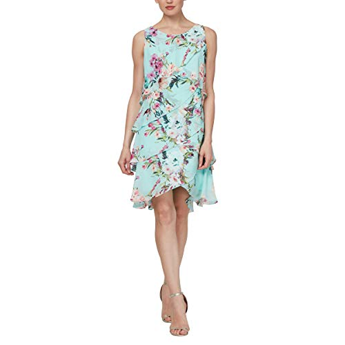 S.L. Fashions Women's Jewel-Strap Tiered Cocktail Party Dress (Petite and Regular), Auqamulti, 18 - L/s Dress Womens Dress