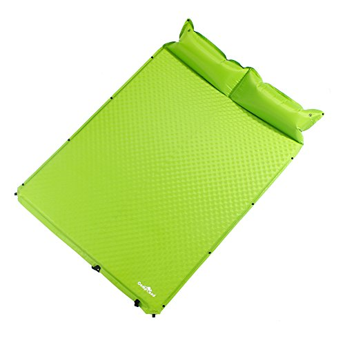 """CampLand Double Self-Inflating Sleeping Pad Air Camping Mat with Pillow - L75'' x W52"""" x H0.8"""""""