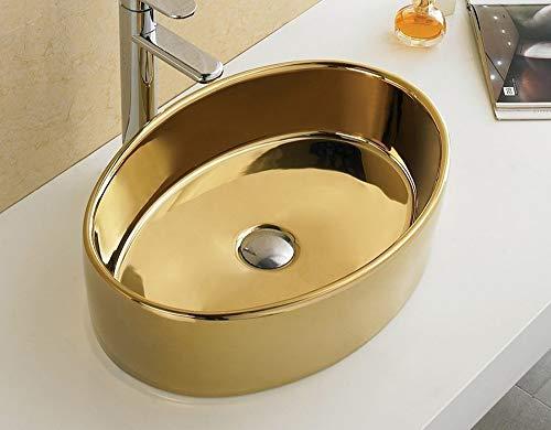 Oval Design Gold (Bathroom Oval Ceramic Porcelain 7151G Polish Gold Vessel Sink Pop Up Drain + free Pop Up Drain)