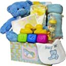 Sweet Baby Care Package Gift Box with Teddy Bear, Blue Boys