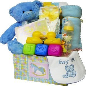 Sweet Baby Care Package Gift Box with Teddy Bear, Blue Boys (Birthday Hamper Delivery)