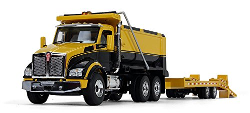 (First Gear 1/50 Scale Diecast Collectible Yellow/Black/Yellow Kenworth T880 Dump Truck with Beavertail Trailer (50-3406))