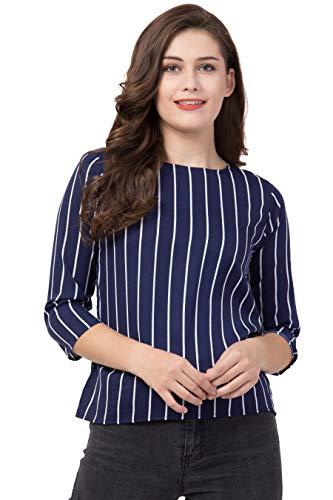 YOGA Casual 3/4 Sleeve Striped Women Blue Top