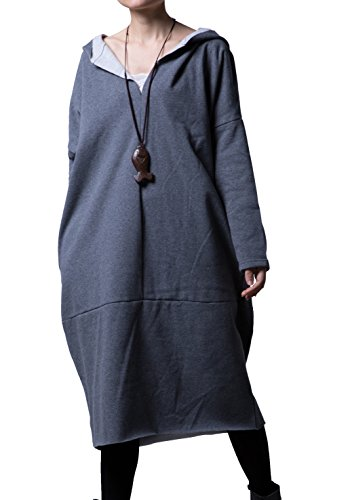 Mordenmiss Women's New Solid Long Sweatshirt with Hood Gray