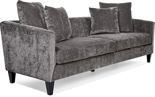 Elle Decor UPH10040B Celeste Channel Tufted Sofa Gray