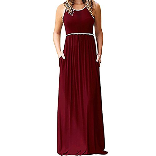 Plus Size Long Dress,Women Solid Loose Sleeveless Tank Lace Maxi Dresses with Pockets (Red, L)
