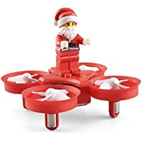 Remote Control Helicopter/Aircraft - Toy Bricks Santa Claus Christmas Toy for Kids with Led Music(Red)