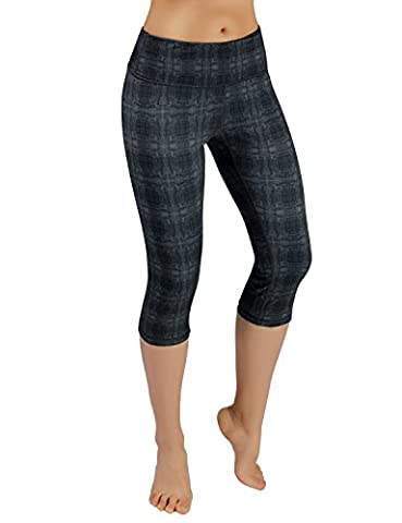 ODODOS by Power Flex Women's Tummy Control Workout Running Printed Capris Yoga Capris Pants With Hidden Pocket ,LinearTribal, - Plus Size Print Jersey