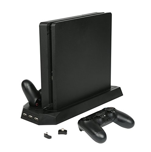 Airke 2 in 1 Vertical Stand for PS4 Slim and PS4 Pro with Cooling Fan, Dual Controller Charger Station for Sony PlayStation 4 Slim/Pro Game Console Dualshock 4 with 3 - Sony Mouse Desktop