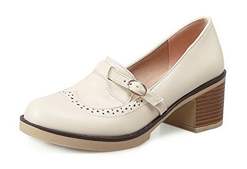 Women's Round Toe Square Heel Korean Casual Shoes with Buckle Beige - 8