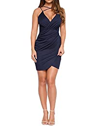 Womens V Neck Front Cross Sexy Halter Dress Bodycon Bandage Cocktail Party Dress