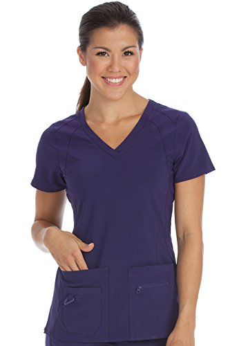 Med Couture Activate Women's V-Neck Racerback Scrub Top, Plum, X-Large from Med Couture