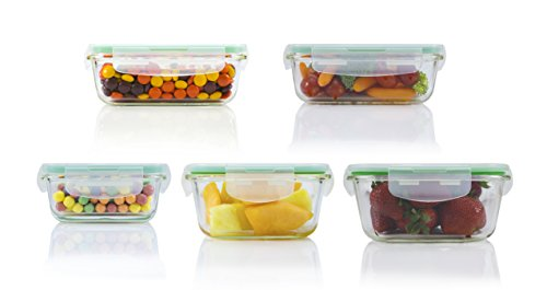 10 Piece Square Glass Food Storage Container Set (Specially Made for Microwave, Oven, Fridge, Freezer, and Dishwasher)
