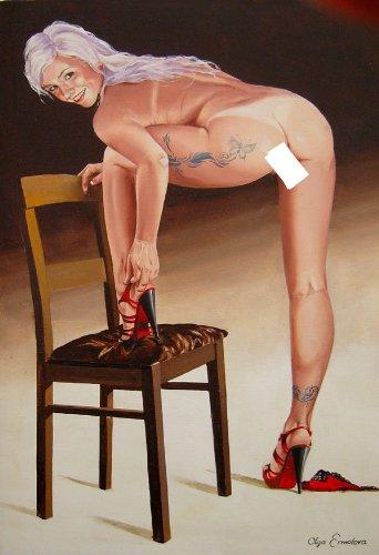 Arte erótico – PINTURA erótica – bonita mujer desnuda con tatuaje ...