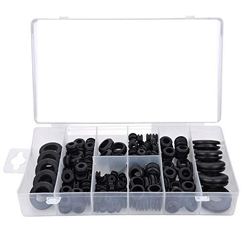 180 Piece Rubber Grommet Kit Ring Rubber Gasket Set of 18 Sizes Firewall Hole Plug Assortment for Automotive Wiring Plug and Cable