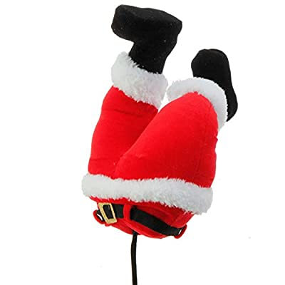 Red Plush Santa Claus Butt Pick Accent Christmas Tree Ornament Decor, 10.5 Inch x 6.5 inch x 3.5 inch on Bendable STick