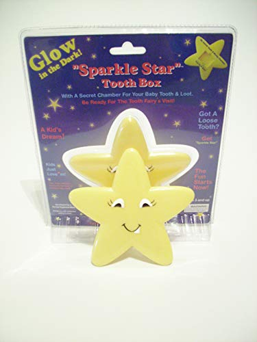 Baby Tooth Fairy Box Holder Glow in The Dark with a Secret Chamber for Tooth & Loot Sparkle Star]()
