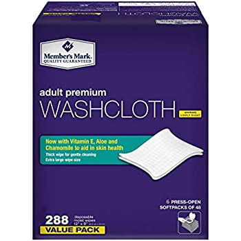Member's Mark Adult Premium Disposable Washcloth Value Pack 288 Count, 1, Blue