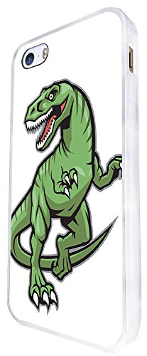 1317 - Cool Fun Trendy Cute Kawaii Dinosaur T-Rex Brachiosaurus Prehistoric Scary Design iphone SE - 2016 Coque Fashion Trend Case Coque Protection Cover plastique et métal - Blanc