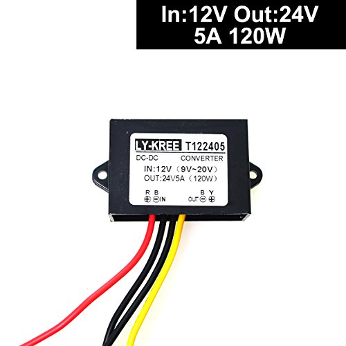 DC 12v Step up to 24v Converter Regulator 5A 120W Power Supply Adapter for Motor Car Truck Vehicle Boat Solar System etc.(Accept DC9-20V Inputs)