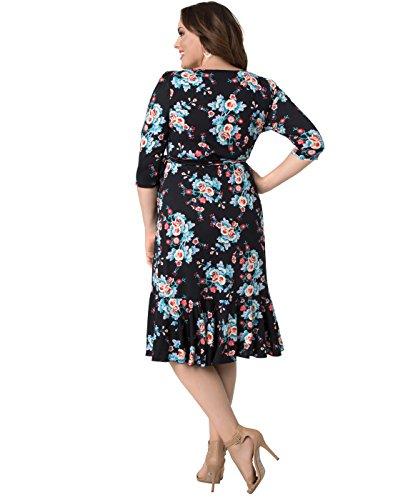 Kiyonna Women's Plus Size Flirty Flounce Wrap Dress 1X Midnight Vintage Floral