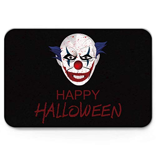Non Slip bath Mat,Doormat Entrance Mats Home Decor,Happy Halloween Horrible Clown Pattern Door Mat Rug,Fantastic Doormat for Indoor/Front Door/Bathroom Bedroom Mats,20 x 31.5 inch]()