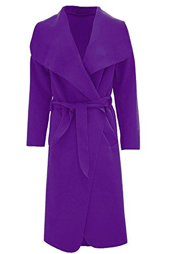 Jacket French de Fashions larga Waterfall Belted para One Trench Size Long Purple italiano Duster para mujer mujer Islander manga Coat pa74z