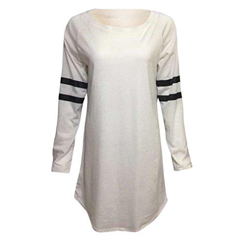 O-Neck Blouse ,BeautyVan New Design Fashion Women Baseball Autumn Long Sleeve Blouse For Women 2017 (L, White)