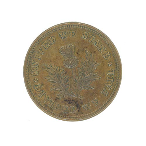 """1863-64""""United We Stand, Divided We Fall"""" Civil War Token CWT XF/AU"""
