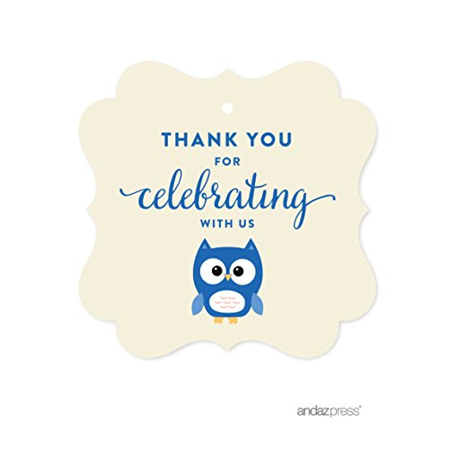 Andaz Press Boy Owl Baby Shower Collection, Fancy Frame Gift Tag, Thank You for Celebrating with Us!, 24-Pack