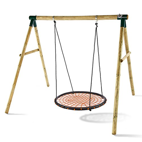 Kemanner 40' Tree Swing Large Heavy Duty Round Spider Web Swing Set with Nylon Hanging Ropes for Adult and Kids (US STOCK) (Red)