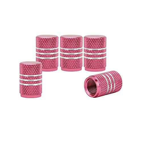 Senzeal 5x Aluminum Alloy Car Tire Valve Stem Caps Round Style Air Covers Pink (Stem Valve Pink Caps)