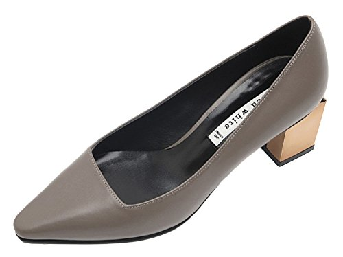 KAREN WHITE Womens Mid Block Heels Genuine Leather Pumps Shoes, Available In White and Grey Grey