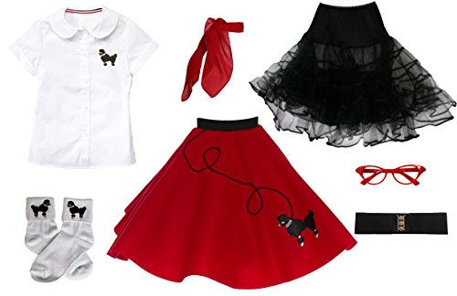 Hip Hop 50s Shop 7 Piece Child Poodle Skirt Outfit, Size 12 Red -