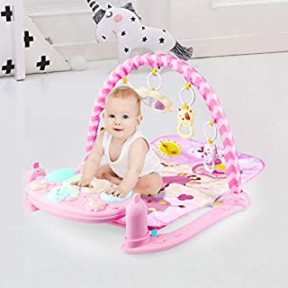 Large Baby Game Pad Music Pedal Piano Music Fitness Rack Crawling Mat,Music Activity Center W/Music, Lights & Sounds Explore Activity Gym, Newborn Kick and Play Toy