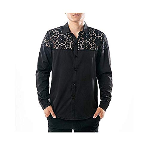 Mens Top Charberry Autumn Full Lace Nightclub Hollow Long Sleeve Lapel Shirt Hollow Shirt Top Blouse by Charberry Men Coat