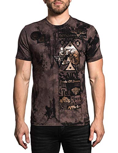 Affliction Men's State of Risk Tee Shirt Scare Crow Wash Small