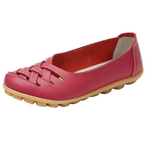 Vogstyle Mujeres Nuevo Cuero Sandalias de Tacón Bajo Zapatos Casual ZY005 Rosa Roja