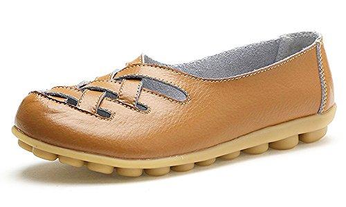 Mocassins Cuir Conduite Loafers Casual Femme Penny De Flats Plates Tan Ville Loisir Bateau Chaussures 6x4pq6arw